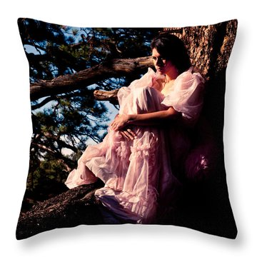 Sitting In A Tree Throw Pillow by Scott Sawyer