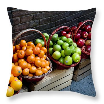 Six Baskets Of Assorted Fresh Fruit Throw Pillow by Todd Gipstein