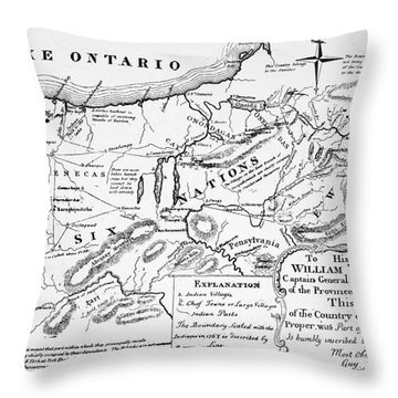 Six Nations Map 1771 Throw Pillow by Granger