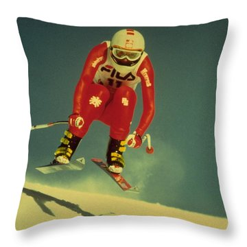 Throw Pillow featuring the photograph Skiing In Crans Montana by Travel Pics