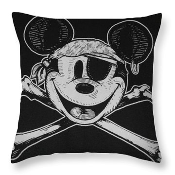 Skull And Bones Mickey  Throw Pillow by Rob Hans