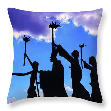 Sky Statues Throw Pillow by Perry Webster