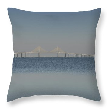Skyway Bridge In Blue Throw Pillow by David Lee Thompson