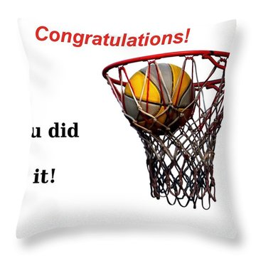 Slam Dunk Congratulations Greeting Card Throw Pillow by Yali Shi