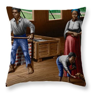 Slaves Refining Sugar Cane Jamaica Train Historical Old South Americana Life  Throw Pillow by Walt Curlee