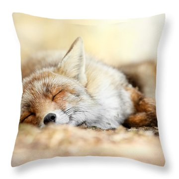 Sleeping Beauty -red Fox In Rest Throw Pillow by Roeselien Raimond