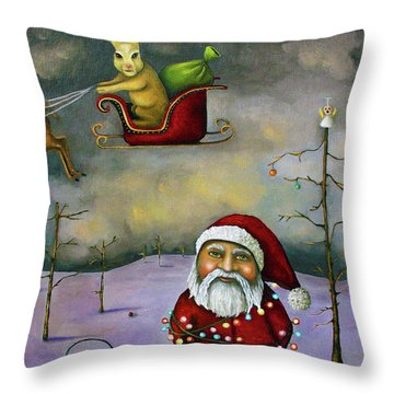 Sleigh Jacker Throw Pillow by Leah Saulnier The Painting Maniac