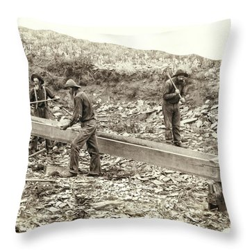 Sluice Box Placer Gold Mining C. 1889 Throw Pillow by Daniel Hagerman