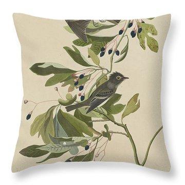 Small Green-crested Flycatcher Throw Pillow by John James Audubon