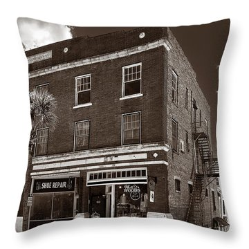 Small Town Shops - Sepia Throw Pillow by Christopher Holmes