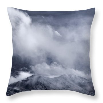 Smoky Mountain Vista In B And W Throw Pillow by Steve Gadomski