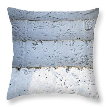 Snow Bird Tracks Throw Pillow by Karen Adams