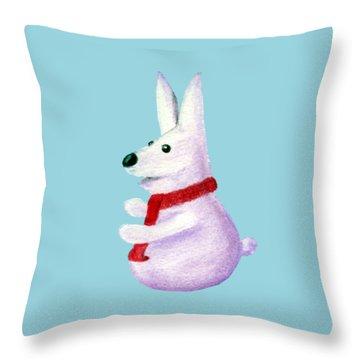 Snow Bunny Throw Pillow by Anastasiya Malakhova