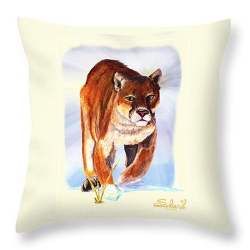 Snow Cougar Throw Pillow by Sherril Porter