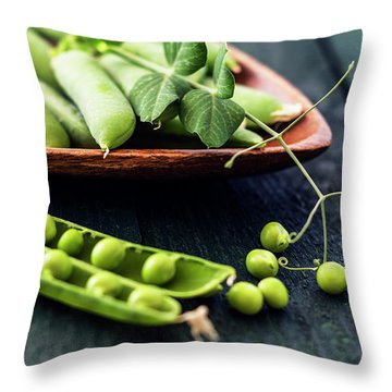 Snow Peas Or Green Peas Still Life Throw Pillow by Vishwanath Bhat