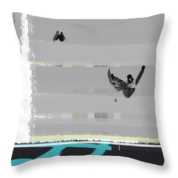 Snowboarding Throw Pillow by Naxart Studio
