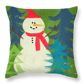 Snowman In Red Hat-art By Linda Woods Throw Pillow by Linda Woods