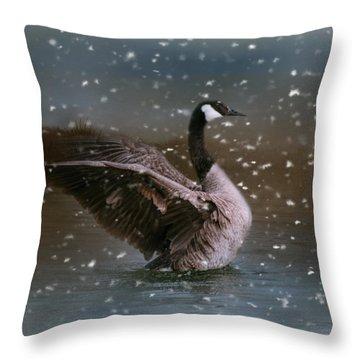 Snowy Swim Throw Pillow by Jai Johnson