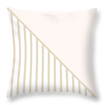 Soft Blush And Champagne Stripe Triangles Throw Pillow by Linda Woods