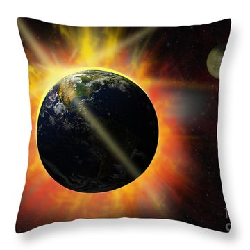 Solar Flare Throw Pillow by Michal Boubin