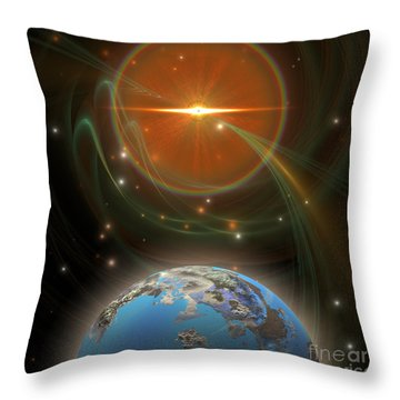 Solar Message Throw Pillow by Corey Ford