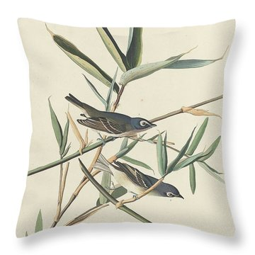 Solitary Flycatcher Throw Pillow by John James Audubon