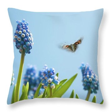 Something In The Air: Peacock Throw Pillow by John Edwards