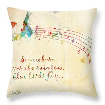 Somewhere Over The Rainbow Throw Pillow by Nikki Smith