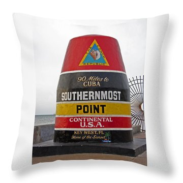 Southermost Point Of U.s.a. Buoy Marker Throw Pillow by John Stephens