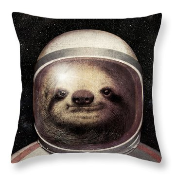 Space Sloth Throw Pillow by Eric Fan