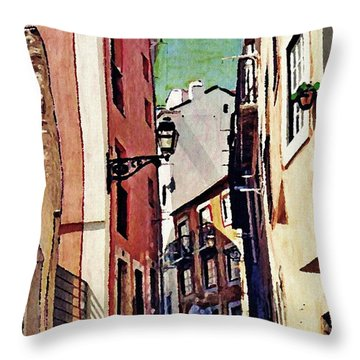 Spanish Town Throw Pillow by Sarah Loft