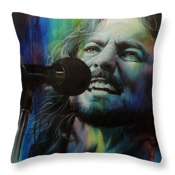 Eddie Vedder - ' Spectrum Of Vedder ' Throw Pillow by Christian Chapman Art