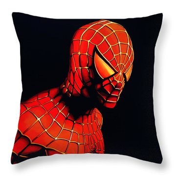 Spiderman Throw Pillow by Paul Meijering