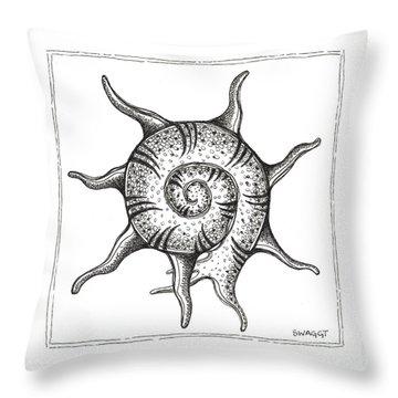 Spiney Nautilus Throw Pillow by Stephanie Troxell