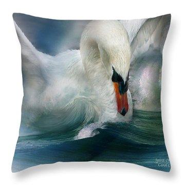 Spirit Of The Swan Throw Pillow by Carol Cavalaris