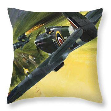 Spitfire And Doodle Bug Throw Pillow by Wilf Hardy