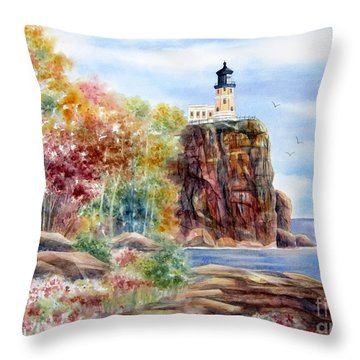 Split Rock Lighthouse Throw Pillow by Deborah Ronglien