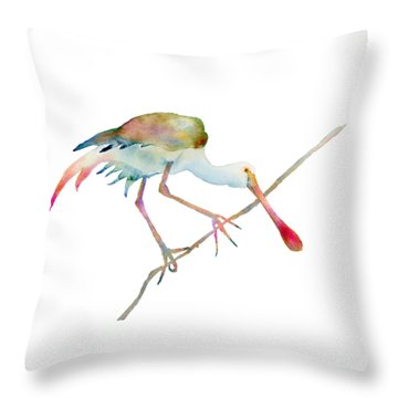 Spoonbill  Throw Pillow by Amy Kirkpatrick