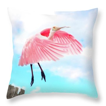 Spoonbill Launch Throw Pillow by Mark Andrew Thomas