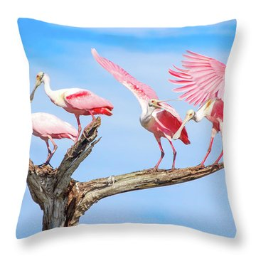 Spoonbill Party Throw Pillow by Mark Andrew Thomas