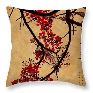 Spring Bloosom In Maldives. Flamboyant Tree I.  Japanese Style Throw Pillow by Jenny Rainbow