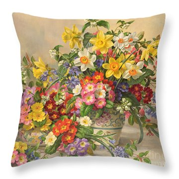 Spring Flowers And Poole Pottery Throw Pillow by Albert Williams