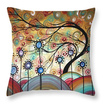 Spring Flowers Original Painting Madart Throw Pillow by Megan Duncanson