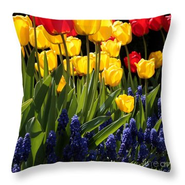 Spring Flowers Square Throw Pillow by Carol Groenen