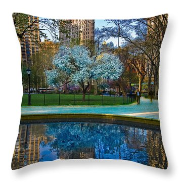Spring In Madison Square Park Throw Pillow by Chris Lord