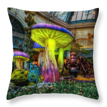 Spring Mushrooms Throw Pillow by Stephen Campbell