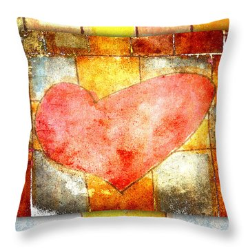 Squared Heart Throw Pillow by Carol Leigh