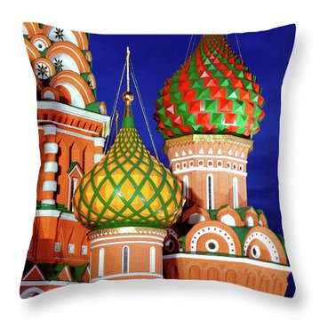 St Basils Cathedral In Moscow Russia Throw Pillow by Oleksiy Maksymenko