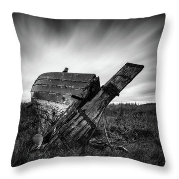 St Cyrus Wreck Throw Pillow by Dave Bowman