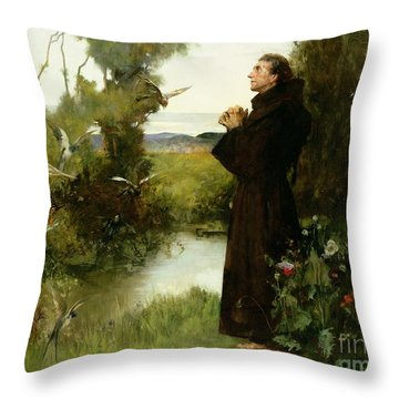 St. Francis Throw Pillow by Albert Chevallier Tayler